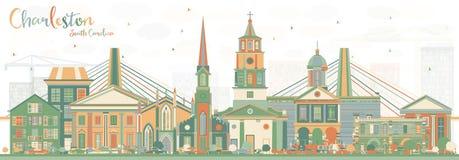 Charleston South Carolina Skyline con le costruzioni di colore illustrazione vettoriale