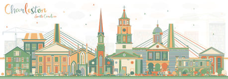 Charleston South Carolina Skyline con los edificios del color ilustración del vector
