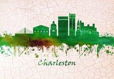 Charleston South Carolina skyline. Skyline of Charleston, the South Carolina port city founded in 1670 vector illustration