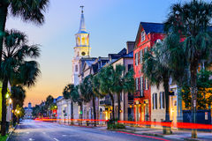 Charleston South Carolina. Charleston, South Carolina, USA cityscape in the historic French Quarter at twilight royalty free stock photography