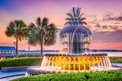 Charleston, South Carolina, USA. At the Waterfront Park Pineapple Fountain Royalty Free Stock Photography