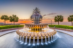Charleston, South Carolina, USA. At the Waterfront Park Pineapple Fountain stock image