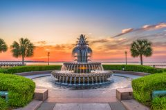 Charleston, South Carolina, USA Fountain. Charleston, South Carolina, USA at the Waterfront Park Pineapple Fountain stock photo