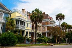 Charleston, south carolina, view of street in downtown with houses and historic architecture. Houses in charleston main road in charleston south carolina royalty free stock photos