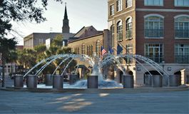 Charleston Waterfront Park. A large fountain marks the northern end of Waterfront Park, an eight acre park along the Cooper River in Charleston, South Carolina Stock Images