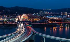 Charleston, West Virginia. Traffic streaks across the Fort Hill Bridge in Charleston, West Virginia royalty free stock photography