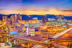 Charleston, West Virginia, USA Skyline. Charleston, West Virginia, USA downtown skyline over the interstate and the river royalty free stock image