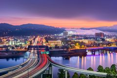 Charleston, West Virginia, USA. Skyline over the river royalty free stock images