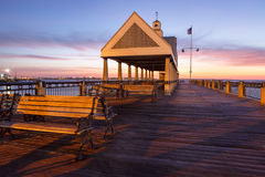 Charleston Wharf at Sunrise SC Royalty Free Stock Photos