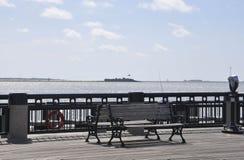 CharlestonSC, Augusti 7th: Strandponton från charleston i South Carolina royaltyfri fotografi