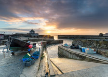 Charlestown in Cornwall. Sunrise at Charlestown, a small historic fishing port in Cornwall and popular as a filming location Stock Photos