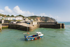 Charlestown harbour near St Austell Cornwall England UK in summer. With blue sky and sea with tourists Royalty Free Stock Photography