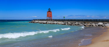The Charlevoix Pier Light Stock Images