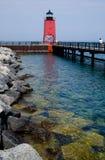 Charlevoix Pier Lighthouse del sud, Michigan Immagini Stock Libere da Diritti
