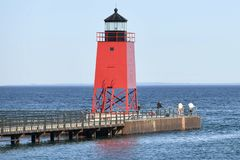 Charlevoix South Pier Light Station Royalty Free Stock Photography