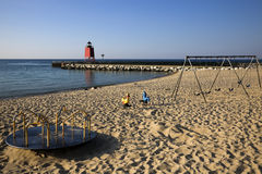 Charlevoix South Pier Lighthouse Royalty Free Stock Images
