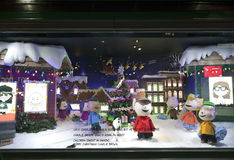 Charlie Brown Christmas window display at Macy's NYC Stock Photography