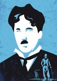 Charlie Chaplin, charlot, vectorillustratie Stock Foto's