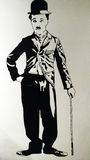 Charlie Chaplin illustration painting Royalty Free Stock Images