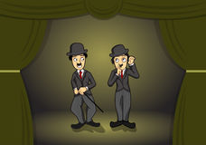 Charlie Chaplin impersonate on stage. Charlie Chaplin on stage impersonator vector illustration Stock Photo