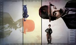 Charlie Chaplin - karikatuur uitstekende affiche royalty-vrije illustratie