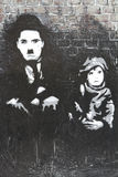 Charlie Chaplin The Kid Grafitti photo stock