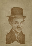 Charlie Chaplin sepia caricature engraving style Stock Photos