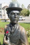 Charlie Chaplin statue in Vevey, Switzerland royalty free stock photography