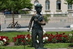 Charlie Chaplin statue in Vevey. Vevey on lake Geneva stock photography