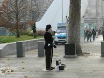 Charlie Chaplin Street Performer op SouthBank in Londen royalty-vrije stock afbeelding