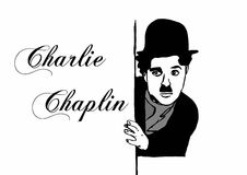 Charlie Chaplin writing Royalty Free Stock Photography