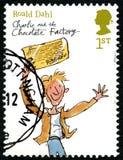Charlie ed il francobollo BRITANNICO della fabbrica del cioccolato Fotografia Stock