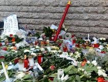 Charlie Hebdo Memorial para París ataca enero de 2015 fotografía de archivo libre de regalías