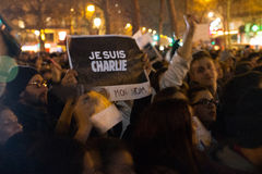 Charlie Hebdo peaceful manifestations Royalty Free Stock Photos