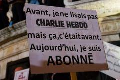 Charlie Hebdo peaceful manifestations Stock Photo