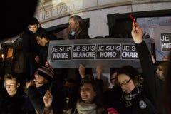 Charlie Hebdo peaceful manifestations Stock Images