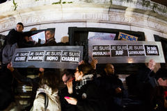 Charlie Hebdo peaceful manifestations Royalty Free Stock Image