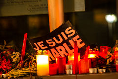 Charlie Hebdo terrorism attack. BERLIN, GERMANY - JANUARY 7TH, 2015: March against Charlie Hebdo magazine terrorism attack, on January 7th, 2015,  in front of Royalty Free Stock Photography