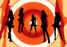 Charlies Angels. Girls party. Vector silhouettes of young women on a hypnotic background Stock Images