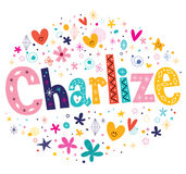 Charlize girls name decorative lettering type design Stock Image