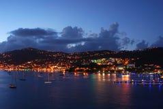 Charlotte Amalie alla notte Fotografie Stock