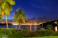 Charlotte Amalie at night St. Thomas Island, USA Stock Photography