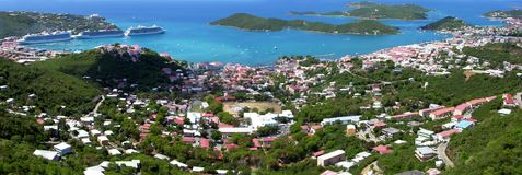 Charlotte Amalie Panorama Royalty Free Stock Photography