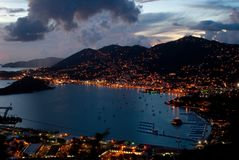 Charlotte Amalie, St Thomas (evening). The port of Charlotte Amalie, St Thomas, US Virgin Island just after Sunset (ariel view Royalty Free Stock Photos