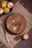 Charlotte with apples and cinnamon Stock Photography