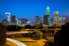Charlotte Blue Hour Stock Images