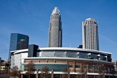 Charlotte Bobcats Arena in Charlotte. Charlotte Bobcats Arena with Bank of America and Hearst Towers in the Background royalty free stock images