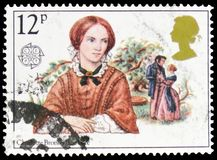 Charlotte Bronte, Authors - British Authoresses Europa C.E.P.T. 1980 serie, circa 1980. MOSCOW, RUSSIA - FEBRUARY 22, 2019: A stamp printed in United Kingdom stock photography