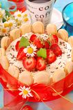 Charlotte cake with strawberry royalty free stock photography