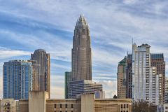 Charlotte, Carolina Skyline del nord immagini stock